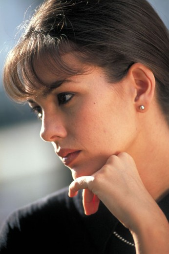 Young woman´s profile : Stock Photo