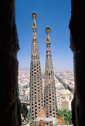 Towers of Sagrada Familia temple by Gaudí. Barcelona, Spain : Stock Photo