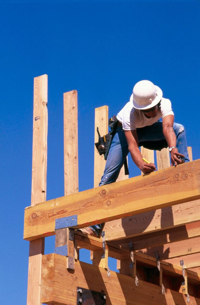 Carpenter. East Antelope, California. USA. : Stock Photo