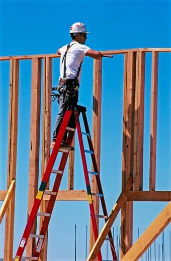 Wood frame construction. East Antelope, California. USA. : Stock Photo