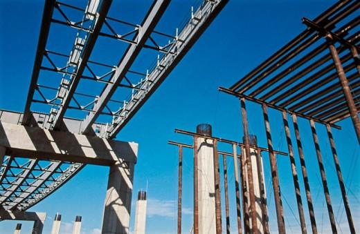 Stock Photo: 1566-0142532 Freeway bridge girders, columns , falsework. I-880 Cypress project. Oakland, California. USA.
