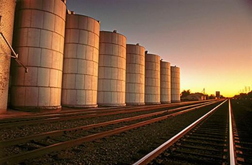 Grain silos and railroad tracks. Central Nebraska. USA. : Stock Photo