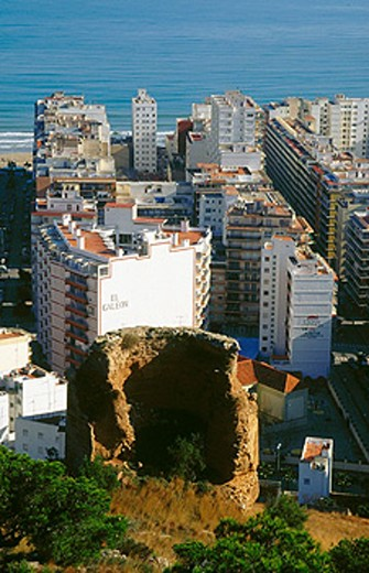View of Cullera, with the remains of a tower and blocks of apartaments at the background. Valencia. Spain : Stock Photo