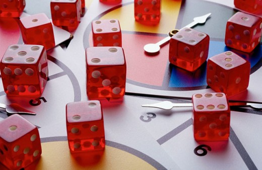 Dice and spinner game : Stock Photo