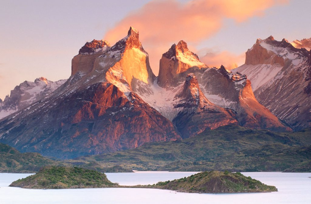 Cuernos del Paine and Pehoe Lake. Torres del Paine National Park. Patagonia. Chile : Stock Photo