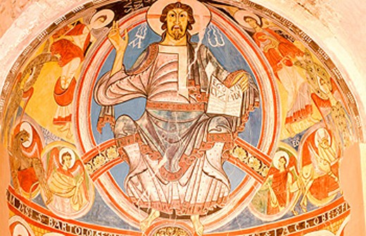Pantocrator (Christ in majesty). Church of San Climent de Taüll. Valle de Boi. Lleida province. Catalonia. Spain (this is a replica of the original which is in the National Museum of Art of Catalonia, in Barcelona) : Stock Photo