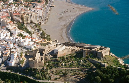 Aerial view of castle. Almuñécar. Costa Tropical, Granada province. Spain : Stock Photo