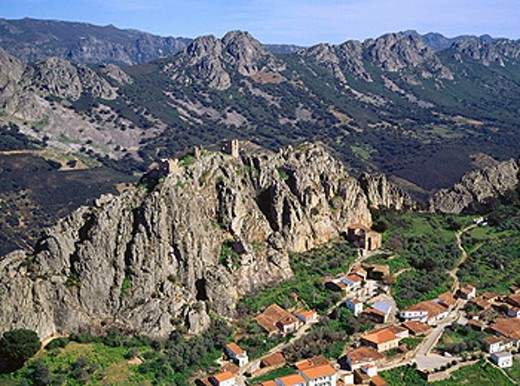 Stock Photo: 1566-0148032 Aerial view of Cabañas del Castillo. Cáceres province. Extremadura. Spain