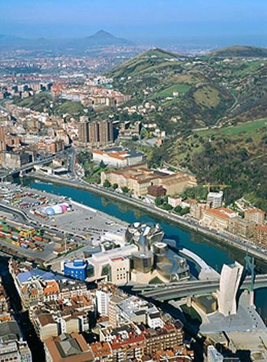 Aerial view of the Guggenheim museum. Bilbao. Bizkaia province. Euskadi (Basque Country). Spain : Stock Photo