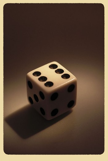 Dice showing ´six´ on top site : Stock Photo