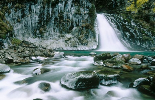 Reinbach waterfall (Cascata di Riva) near ´Sand im Taufers´. Winter. South Tirol (Alto Adige). Italy. : Stock Photo