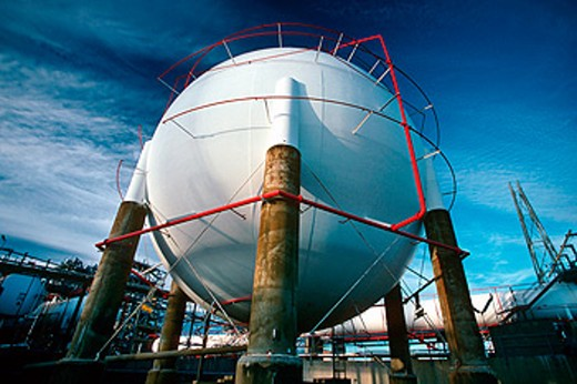 Ethanol storage sphere in petrochemical oil refinery : Stock Photo