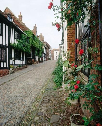 The Mermaid Inn, a 14th century inn in Mermaid Street, Rye village. East Sussex, England, UK : Stock Photo