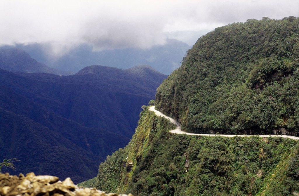 Stock Photo: 1566-0151403 Cornice road in the Yungas. Bolivia