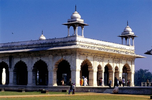 The Red Fort (17th Century), exterior view of one of the inner halls. Old Delhi. India : Stock Photo