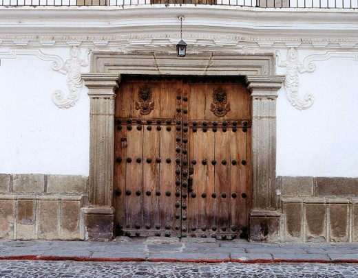 Entrance door of Casa de Chamorro (c. 1762). Antigua Guatemala. Guatemala : Stock Photo