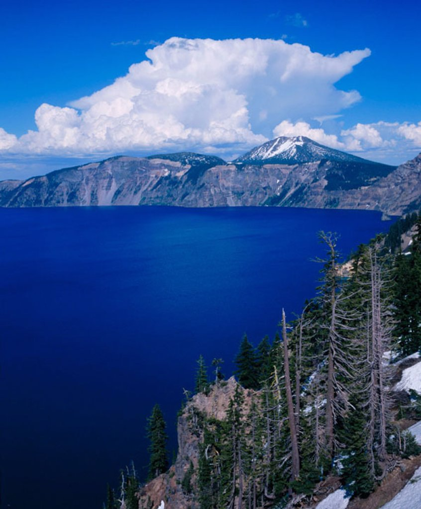 Cumulus clouds rise over lake. Crater Lake National Park. Oregon. USA : Stock Photo