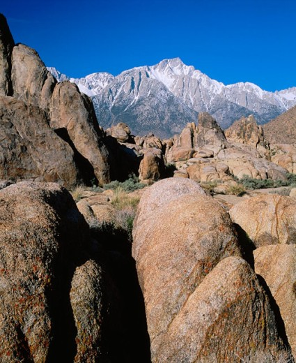 Stock Photo: 1566-0153751 Mount Whitney and Alabama Hills. Eastern Sierra Nevada. California. USA