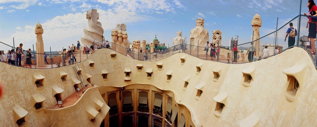 La Pedrera (Milà House 1906-1912, by Gaudí). Barcelona. Spain : Stock Photo