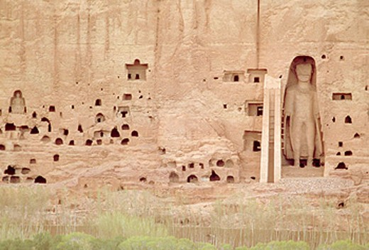 Bamiyan cliff with the 120 feet Buddha in a niche. Afghanistan. : Stock Photo