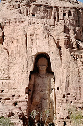 Bamiyan cliff measuring 175 feet. Front view of the Buddha. Afghanistan. : Stock Photo