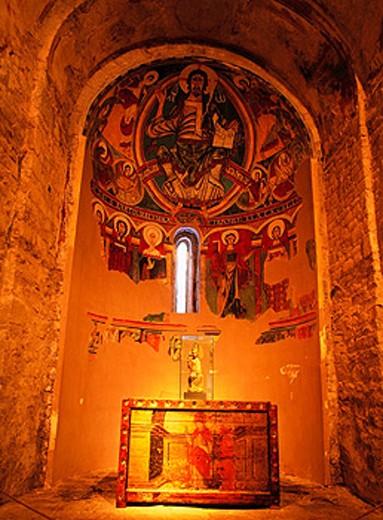 Stock Photo: 1566-0155843 Sant Climent de Taull mural paintings. Vall de Boi. Lleida province. Spain
