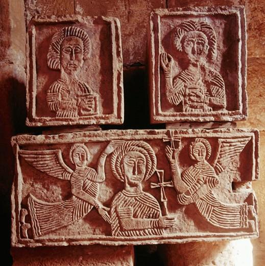 Visigothic relief in Quintanilla de las Viñas. Burgos province. Spain : Stock Photo