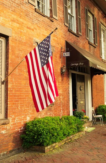Stock Photo: 1566-0157734 American flag at home. Savannah. Georgia. USA