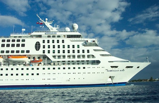 Stock Photo: 1566-0157776 The cruiseship, the Norwegian Wind at anchor in the Grand Cayman Islands