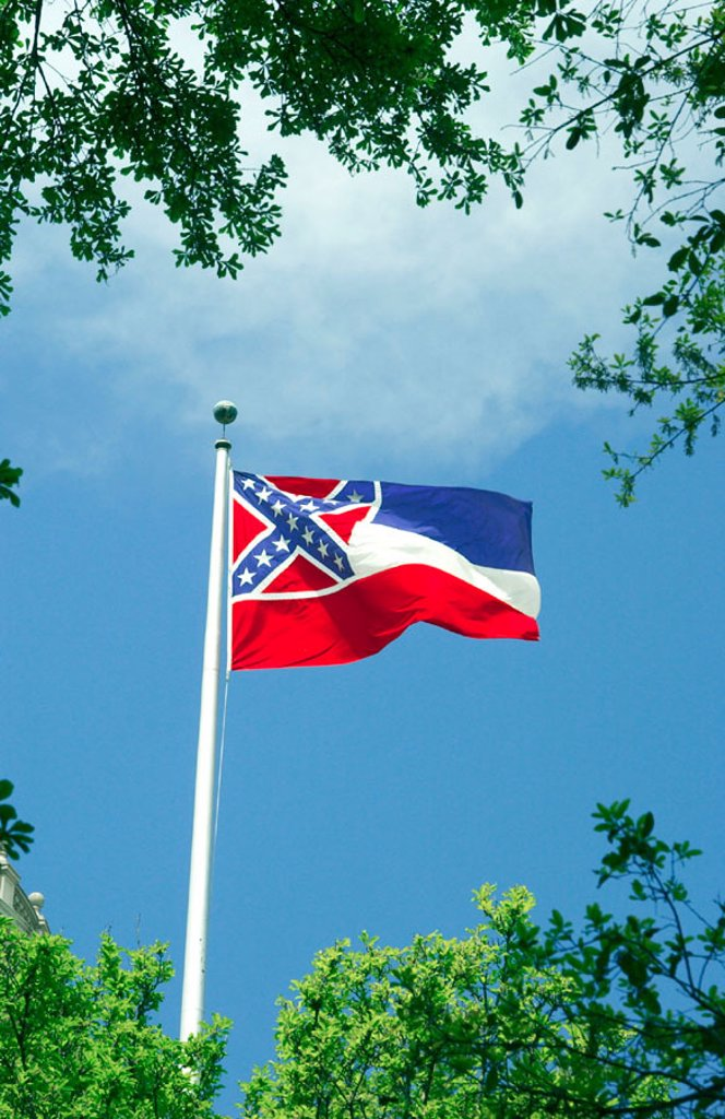Mississippi state flag flying in the breeze. : Stock Photo