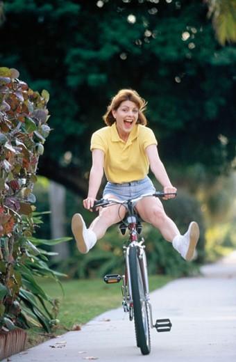 Really enjoying that bike ride : Stock Photo