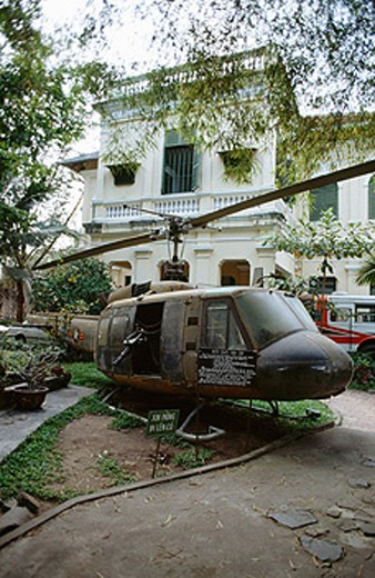 Huey helicopter at the American War Crimes Museum. Ho Chi Minh City (Saigon). Vietnam . : Stock Photo