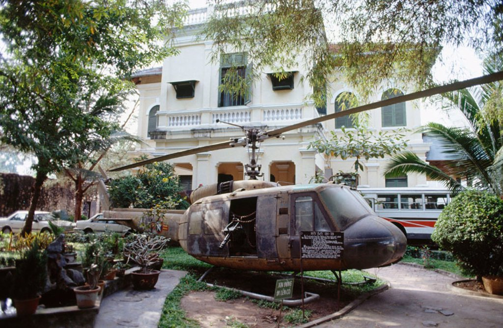 Huey helicopter at the American War Crimes Museum. Ho Chi Minh City (Saigon). Vietnam : Stock Photo