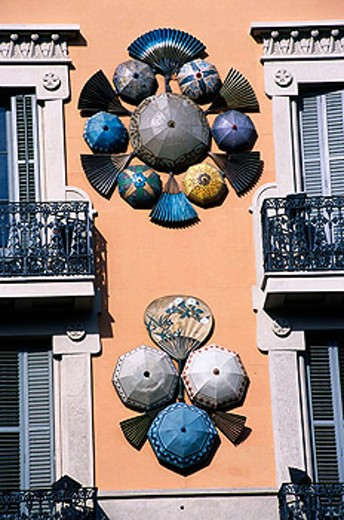 Art nouveau decorations on Casa Bruno on Las Ramblas. Barcelona. Spain : Stock Photo