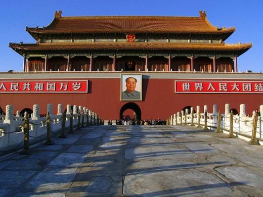 Main Entrance to The Forbidden City. Tiananmen Square. Beijing. China : Stock Photo