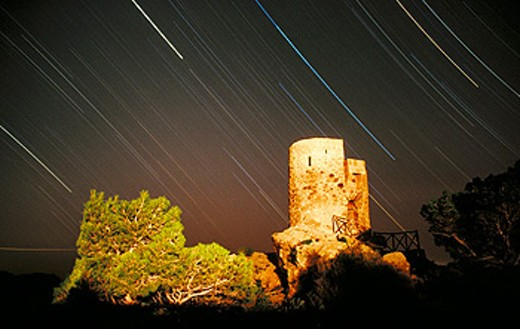 Stock Photo: 1566-0164155 Ses Animes tower, lookout built 15th century. Banyalbufar. Majorca, Balearic Islands. Spain