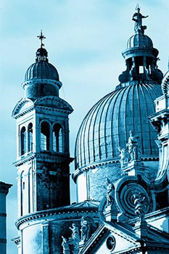 Stock Photo: 1566-0164916 Detail of domes from Santa Maria della Salute church. Venice. Italy