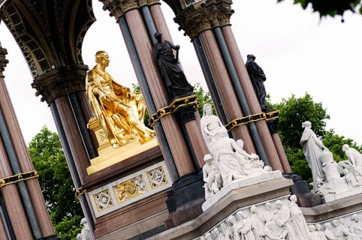 Prince Albert Memorial by Sir George Gilbert Scott. Kensington Gardens, London. England : Stock Photo