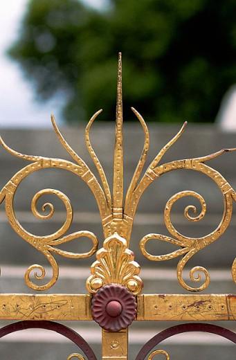 Gate detail of Prince Albert Memorial by Sir George Gilbert Scott. Kensington Gardens, London. England : Stock Photo
