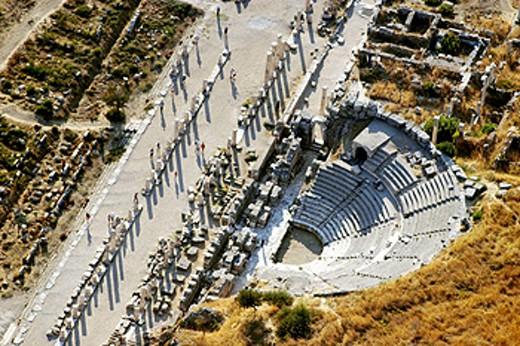 Stock Photo: 1566-0165245 Great Theater, ruins of Ephesus. Turkey
