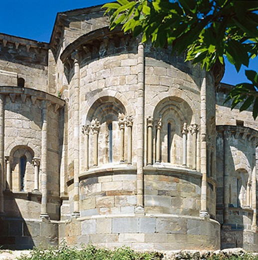 Apse of Romanesque church of Cistercian monastery built Xth century. San Martín de Castañeda. Zamora province, Spain : Stock Photo