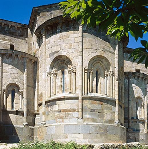 Stock Photo: 1566-0166102 Apse of Romanesque church of Cistercian monastery built Xth century. San Martín de Castañeda. Zamora province, Spain