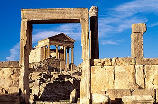 Stock Photo: 1566-0168642 Roman capitol ruins. Dougga. Tunisia
