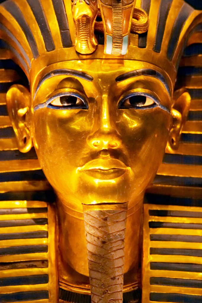 Stock Photo: 1566-0168869 Tutankhamen death Mask. Egyptian Museum. Cairo. Egypt