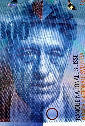 Stock Photo: 1566-0169208 Swiss sculptor Alberto Giacometti in 100 Swiss Francs note