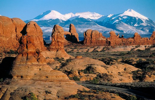 Stock Photo: 1566-0169952 La Sal Mountains. Arches National Park. Utah, USA