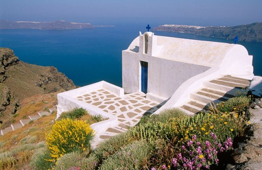 Stock Photo: 1566-0170265 Imerovigli, Santorini. Cyclades. Greece.