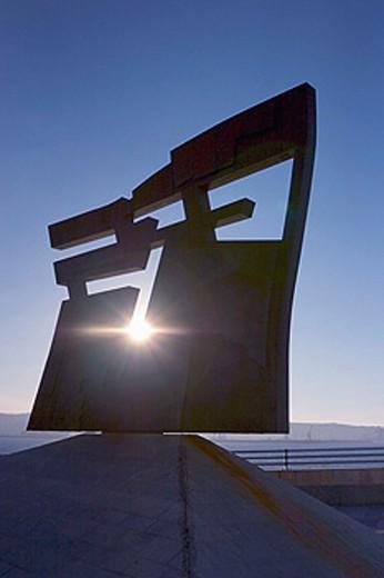 Stock Photo: 1566-0171364 ´Nordeste´ (North-East), scultpture by Joaquín Vaquero Turcios at Cimadevilla. Gijón. Asturias, Spain