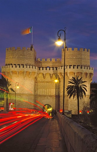 Stock Photo: 1566-0172112 Torres de Serranos, part of the old city walls built in the 14th century. Valencia. Spain