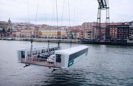 Puente de Bizkaia. The unusual bridge across the river in Bilbao. Bilbao. Spain. : Stock Photo